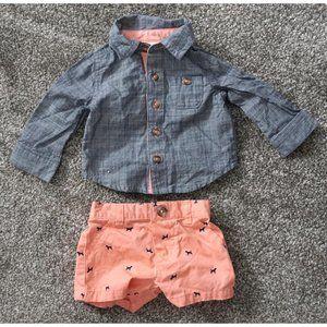 Cat & Jack 2 Pc. Button Shirt Shorts Outfit